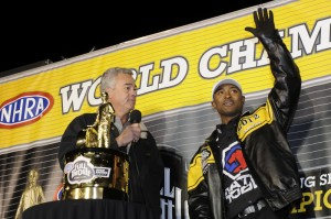 NHRA President Tom Compton and Antron Brown