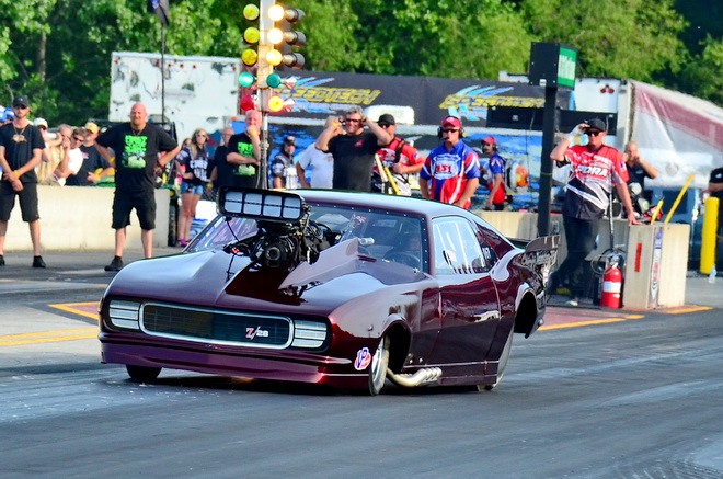 Scott Christoffel of Oswego, IL, gets a little out of shape off the launch of his blown 526-equipped '68 Camaro in the opening round of Pro Boost qualifying at the PDRA Summer Drags.