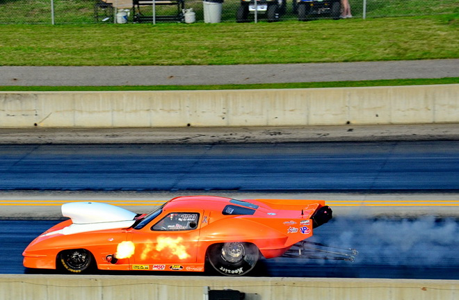 Blake Housley of Lees Summit, MO, made a sacrifice to the aluminum piston gods in the opening round of Pro Nitrous qualifying, but still placed 13th overall.