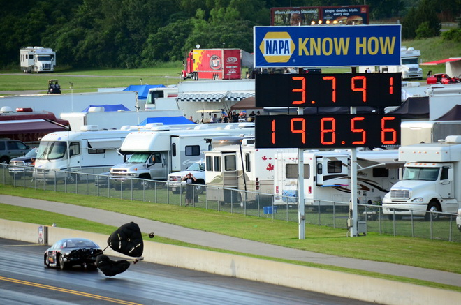 Pro Nitrous rookie Lizzy Musi ran 3.78 and 3.79 in testing earlier on Friday, then with this pass she made the only run in the 3.70s to lead the opening round of qualifying for the PDRA Summer Drags in Michigan.