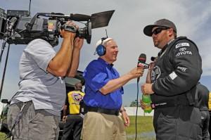 Gary Gerould interviewing Shawn Langdon (Photo courtesy NHRA.com)