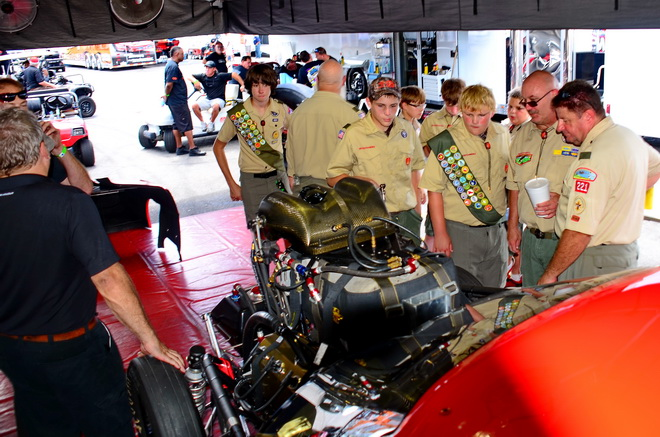 PDRA Pro Extreme team owner Roger Henson and driver Bubba Stanton hosted a local Boy Scout troop Saturday afternoon at Rockingham Dragway.