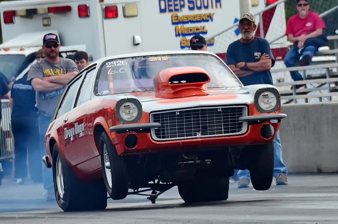 """A tardy .104 light in the second round of 6.0 index racing sent Devin Rowland and his cool """"Drag'n Wag'n"""" '72 Vega home early to Alma, GA."""