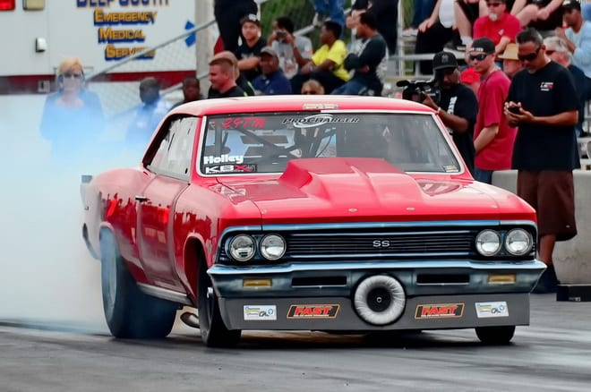 Ocala, FL's Chad Opaleski made a nice 4.271-seconds pass at 181.13 mph to qualify his muscular-looking and Procharger-equipped '66 Chevelle third in the always-tough Outlaw Drag Radial class. Opaleski reached the third round of eliminations, but once there he couldn't hold off the hard charge of past event winner Chris Tuten.