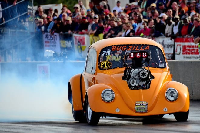 """If it's Lights Out, then Ron Clark and his crowd-favorite """"Bugzilla"""" have to be there! Unfortunately, the blown 377 up front in the '70 VW Bug was good enough only for a 5.216 at 136.73 that left Clark just outside the 32-car cut for race day action."""