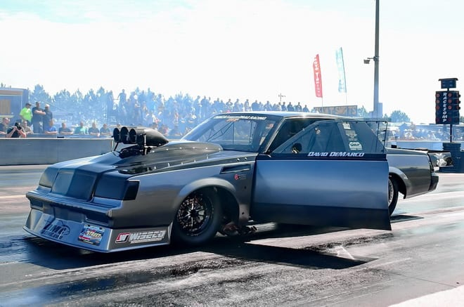 Twin brothers David and Andrew DeMarco showed up at Lights Out 6 with a new roots-blown Hemi built by Bob Mason pumping out the horsepower for their '84 Buick Regal. After four rounds of Radial vs. the World qualifying, David drove the car to a 4.482 at 186.23-mph pass that put him 21st in the 32-car field.  He significantly improved to 4.208 at 187.78 in a first-round win over Missouri's Mike Kimmis, but fell with a 4.232 at 185.10 in round two against eventual event winner Stevie Jackson.