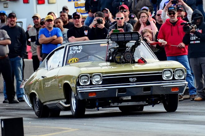 Ron Fisher struggled to get his new '68 Chevelle to hook up for Radial vs. The World qualifying in its debut outing at Lights Out 6. Other than the big Mike Janis blower jutting through its hood the car is remarkably stock appearing.