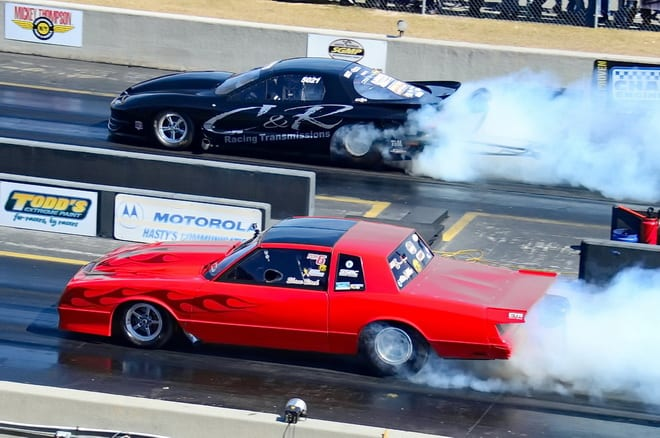 Shane Stack of Huntsville, AL, attended his high school prom about 20 years ago in this beautiful '86 Monte Carlo, but now campaigns it in eighth-mile drag radial competition. Stack ran 4.621 at 178.87 mph to place 27th in the 32-car Radials vs. The World class at Lights Out 6, but fell to Brad Edwards in round one of racing.