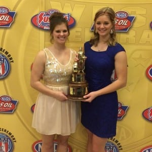 Megan (right) and sister Rachel celebrate their father's 2015 NHRA Central Region championship.