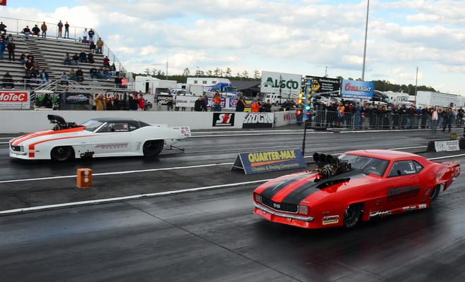 The red light tells the story for Mike Recchia (far lane) in his weather-postponed semi race from Tulsa against reigning PDRA Pro Extreme champion Jason Scruggs. Regardless, Scruggs ran 3.498 at 222.44 mph to take over the top qualifying spot and earn the right to face Brandon Snider in the delayed Tulsa final. After his scheduled opponent, Khalid al Faraei, opted out of the Rockingham event, Snider ran an uncontested 3.555 at a career-best 219.79 to place third behind Scruggs and Wesley Jones.